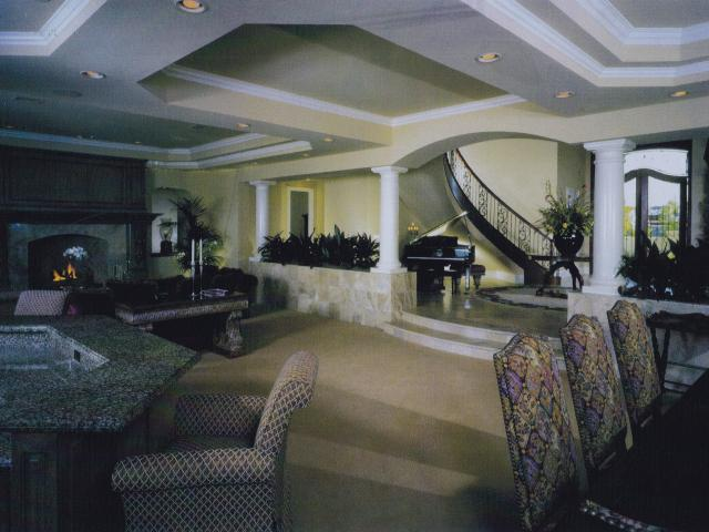 traditional-living room with entry