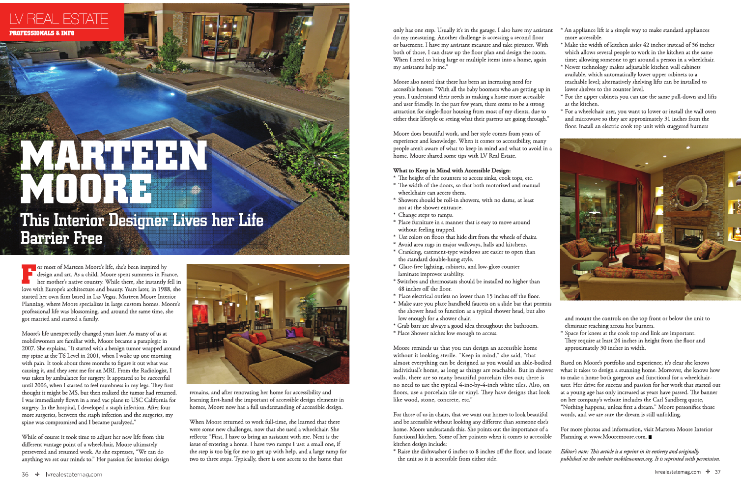 I was in a magazine marteen moore for Articles on interior design